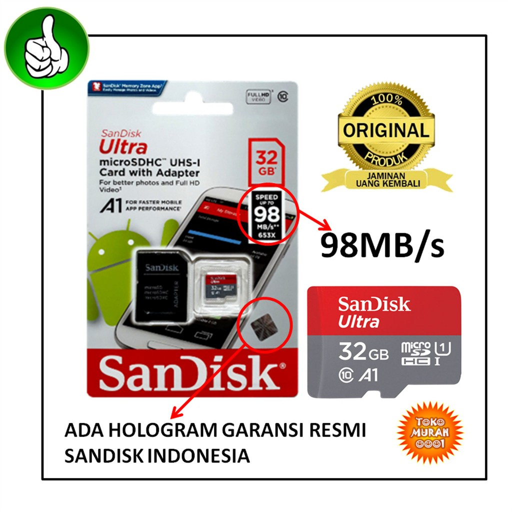Sandisk Ultra Micro Sd Hc Class 10 48mb S 32gb Garansi Resmi 128gb Sandisc 100mbps Shopee Indonesia