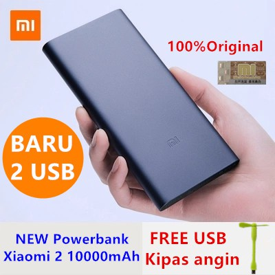 Powerbank Xiaomi Mi 2 NEW 10000mAh 2 PORT 100% Original Fleksibel Tahan lama Bonus USB kipas angin | Shopee Indonesia