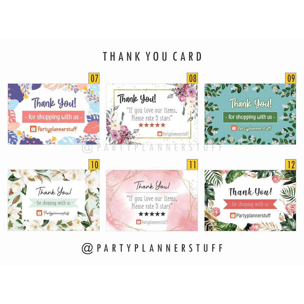 Kartu Ucapan Terima Kasih Online Shop Thank You Card Olshop Stiker Olshop Custom Kartu Olshop Shopee Indonesia