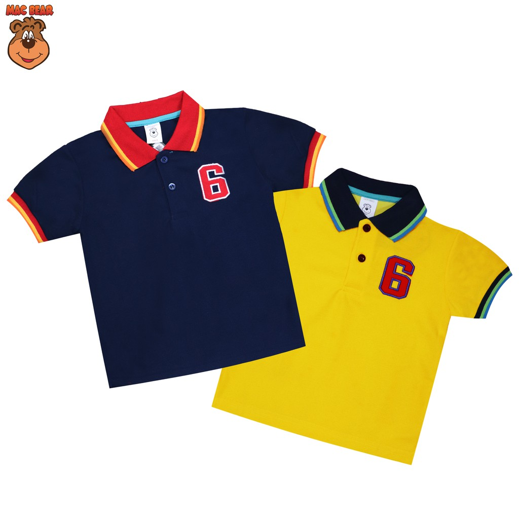 Macbear Junior Baju Anak Polo Point 6 Polos Putih Kuning Shopee Kids Setelan Little Dino Park Variasi Dasi Size 3 Biru Indonesia