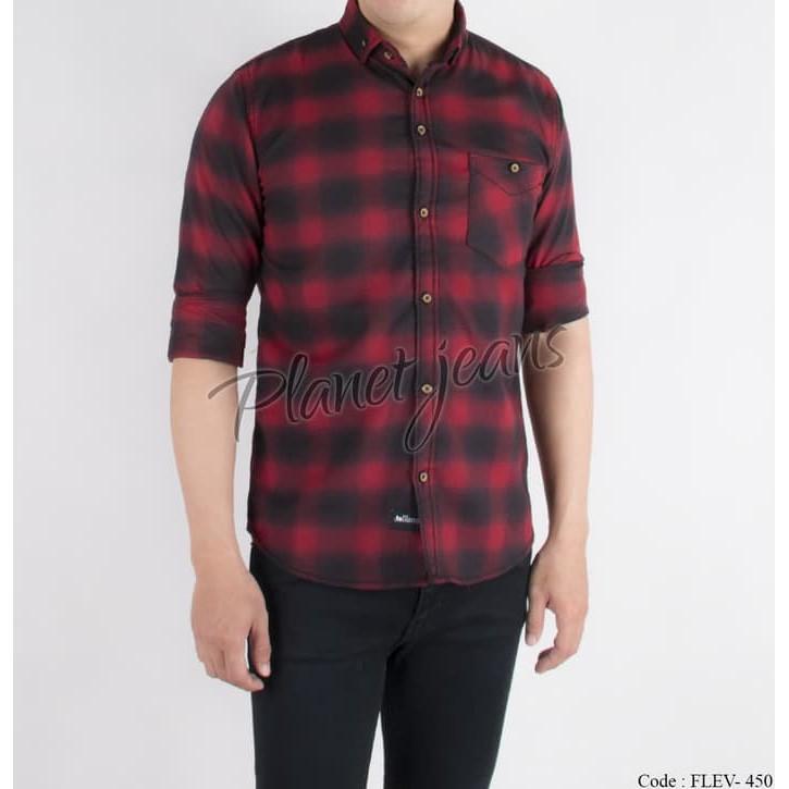 Baju kemeja kotak flanel pria lengan panjang bahan flannel slimfit HQ | Shopee Indonesia
