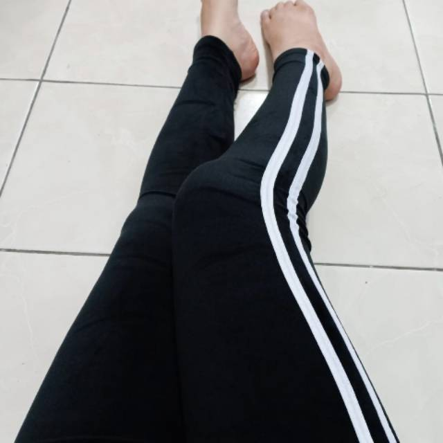Celana Legging Lilis Garis 2 Soft Import Bludru Shopee Indonesia