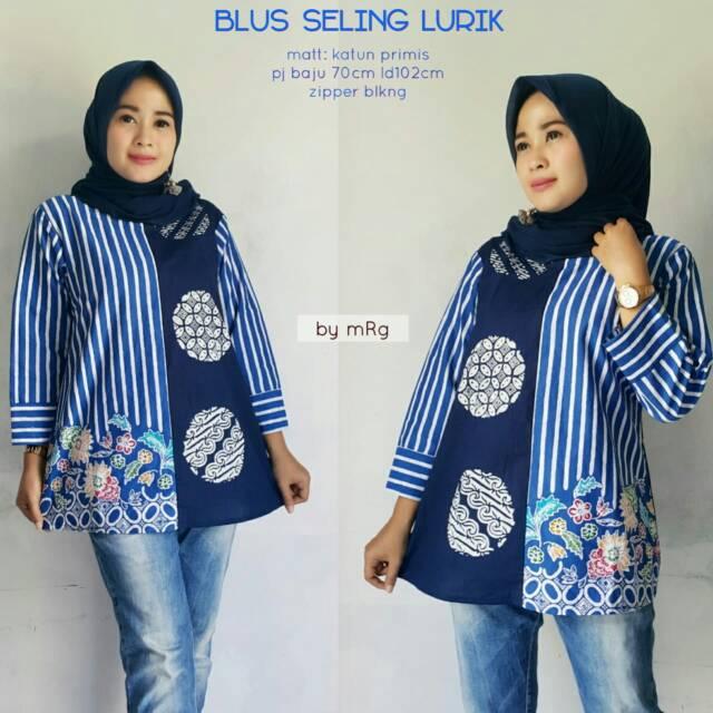 Blus Seling Lurik Blus Batik Wanita Kerja Atasan Batik Wanita Murah Blus Batik Model Terbaru