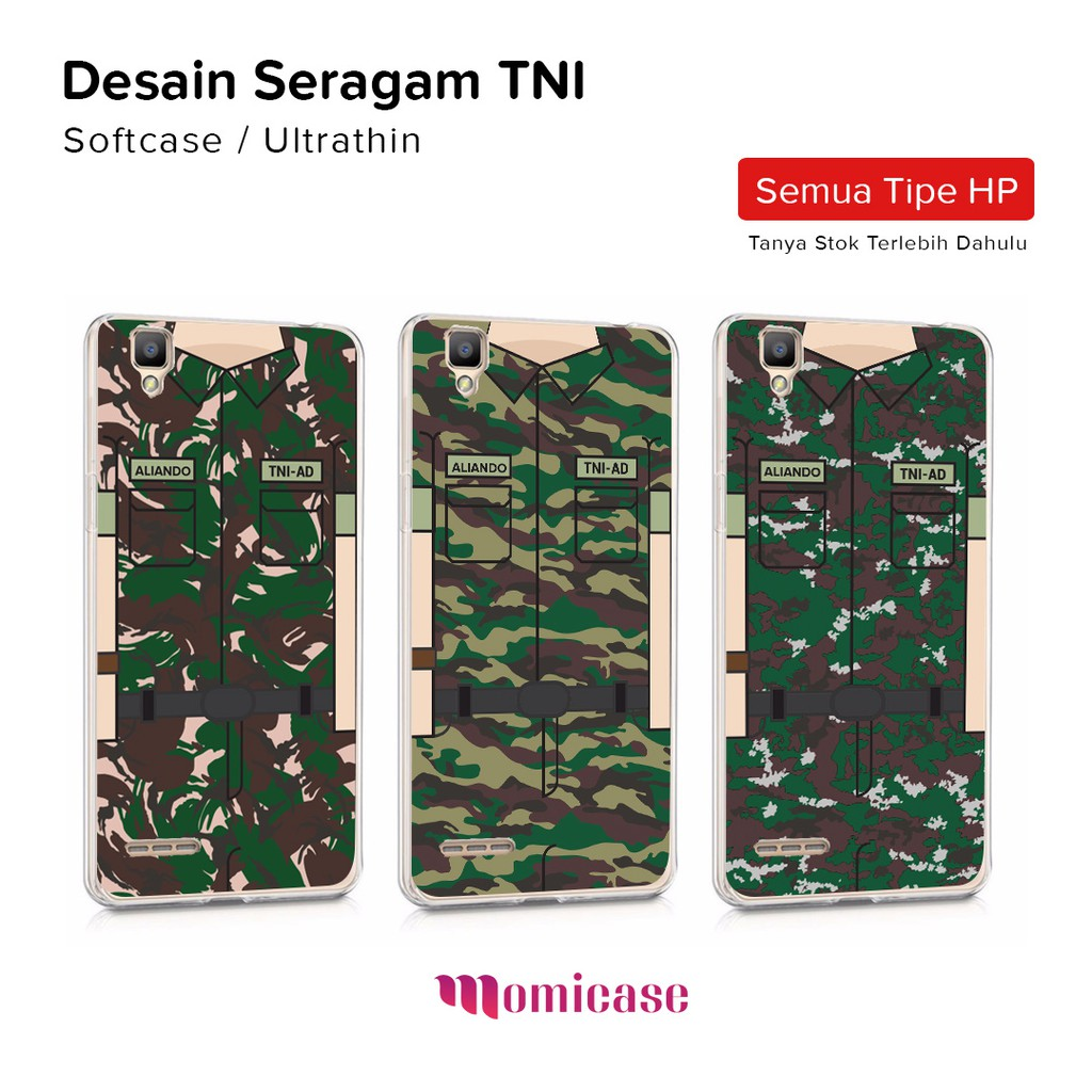 Casing HP Custom Seragam TNI Softcase Ultrathin Case PALING MURAH Gambar Nama Sendiri