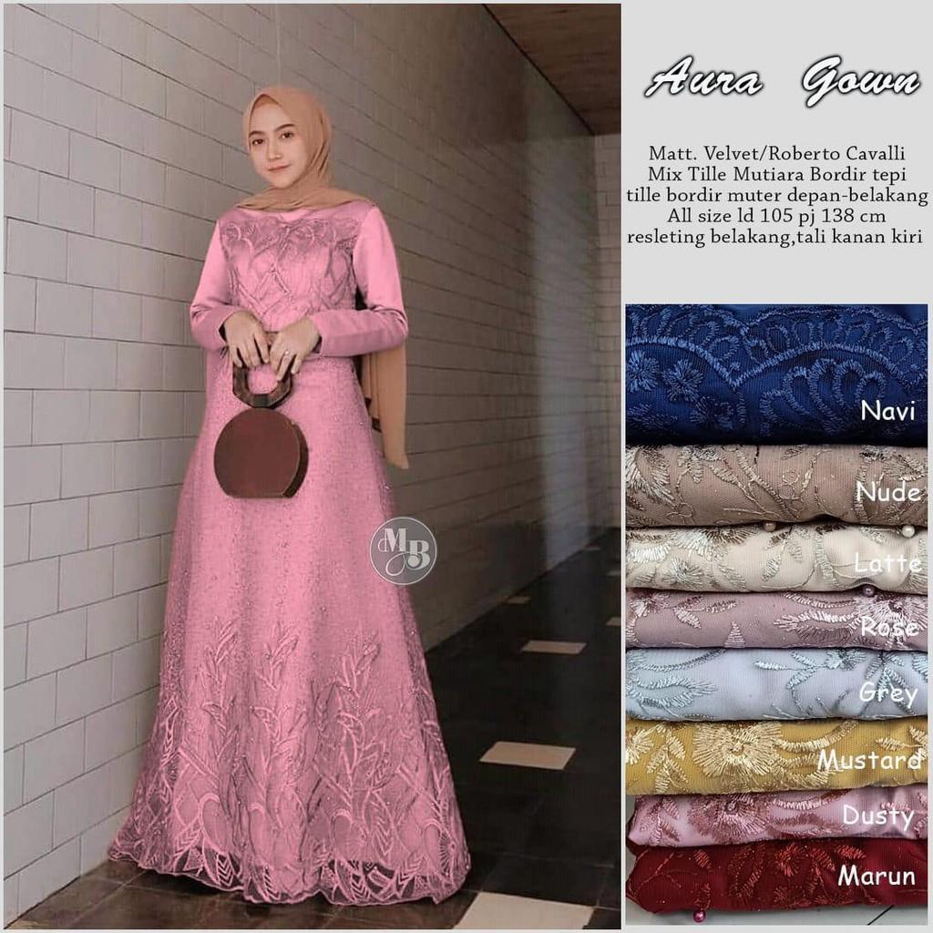 Termurah!!! dan COD Aura Gown gamis brokat tile mewah model gamis Untuk  Pesta Dan Acara Pernikahan