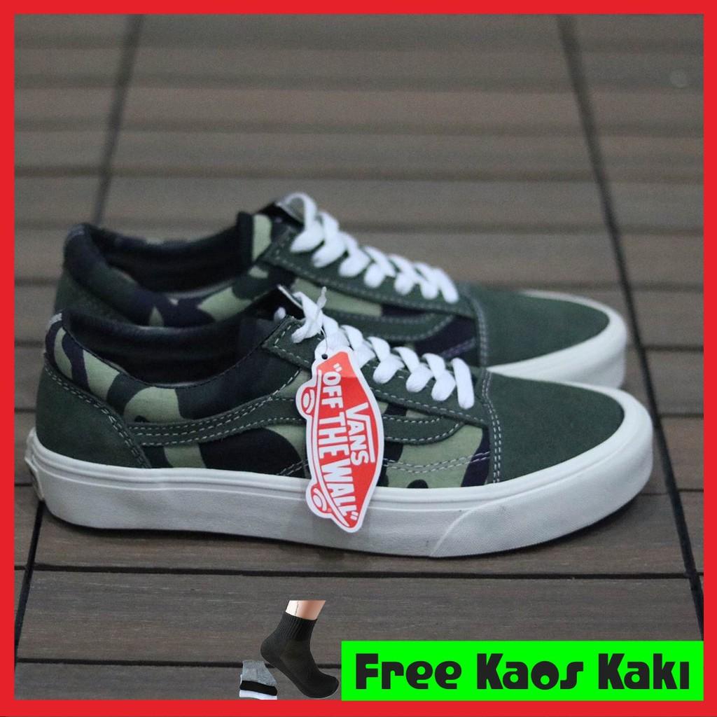 Sepatu Sneakers Pria Vans Old Skool Green Army Premium Import