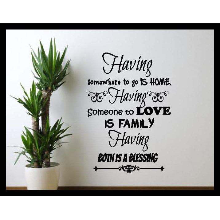 Discount Wall Sticker Quotes Having Home Family Stiker Dekorasi Dinding Rumah Shopee Indonesia