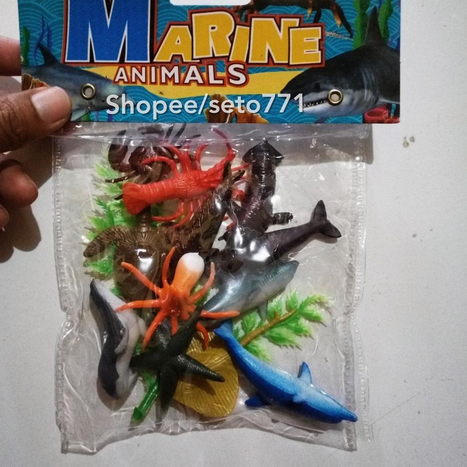 V533 MINI Sea Marine Animal Macam Macam Binatang Laut Kecil Hewan Air Hiu Paus Lumba Kura Udang K
