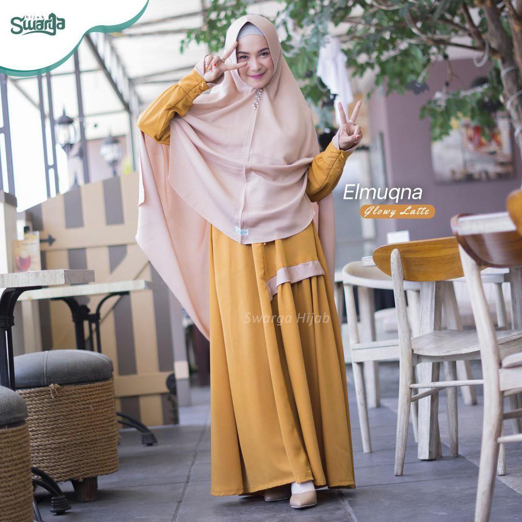 Gamis Elmuqna Combi By Swarga Hijab Syari Original Gamis Jumbo Gamis Terbaru Grosir Gamis Shopee Indonesia