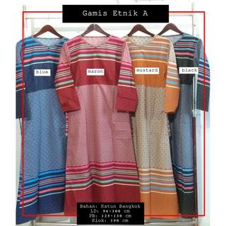 Gamis Katun Bangkok Motif Etnik / Gamis Rumahan / Gamis Bahan Katun Murah | Shopee Indonesia