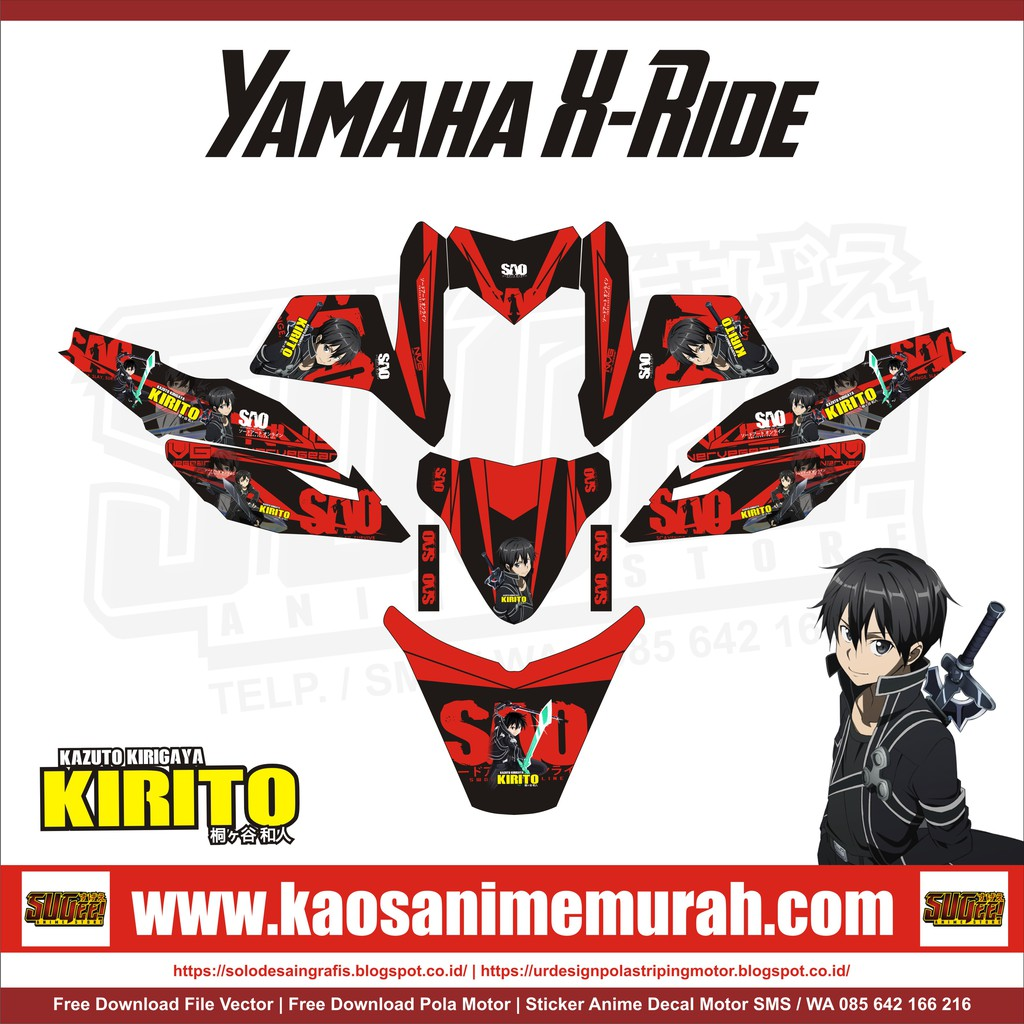 Sticker anime decal motor yamaha x ride kirito sao shopee indonesia