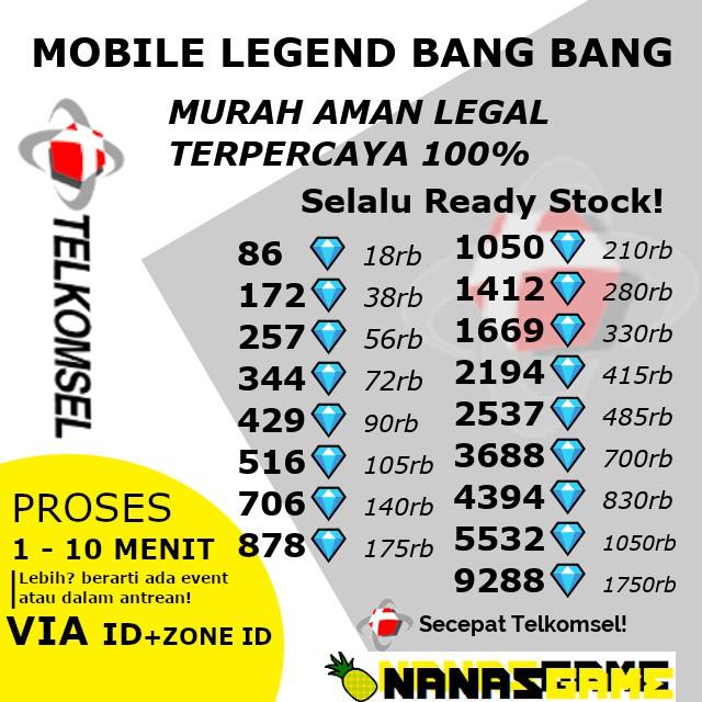 Promo Top Up Diamond Mlbb Dm Ml Secepat Telkomsel Shopee Indonesia