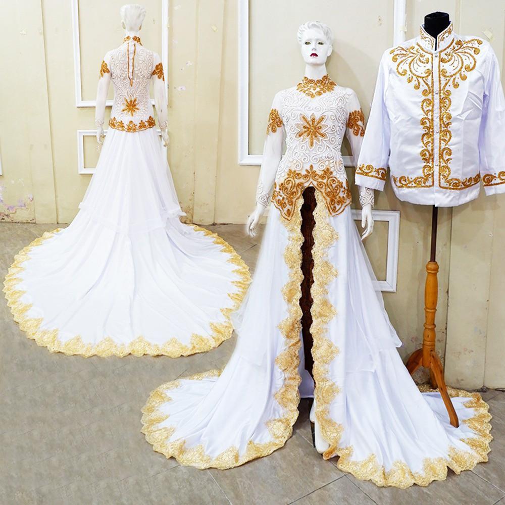 Murahh bisa dibeli terpisah kebaya ekor pengantin akad putih gold