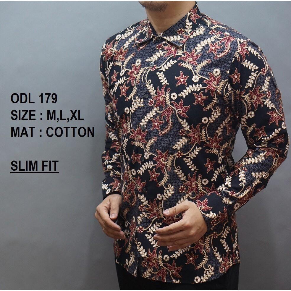 lb 143 baju batik kemeja pria lengan panjang slim fit bagus keren  berkualitas murah elegan  6c84777a24