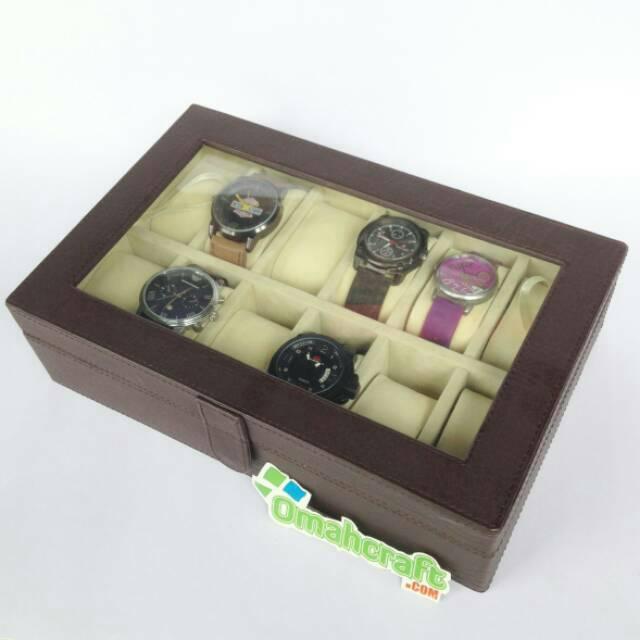 Box Jam Tangan isi 12   Kotak Jam Tangan Warna Coklat Dalam Crem ... 5979c0fea9