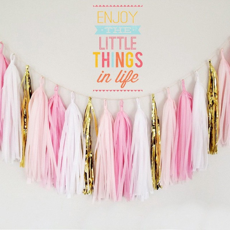 5pcs Tissue Tassel Garland Paper Banner Party Supplies Diy Wedding Bunting