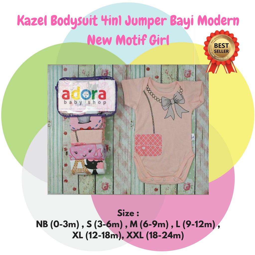 JUMPER KAZEL 4 in 1 girl / jumper bayi / baju bayi lucu | Shopee Indonesia