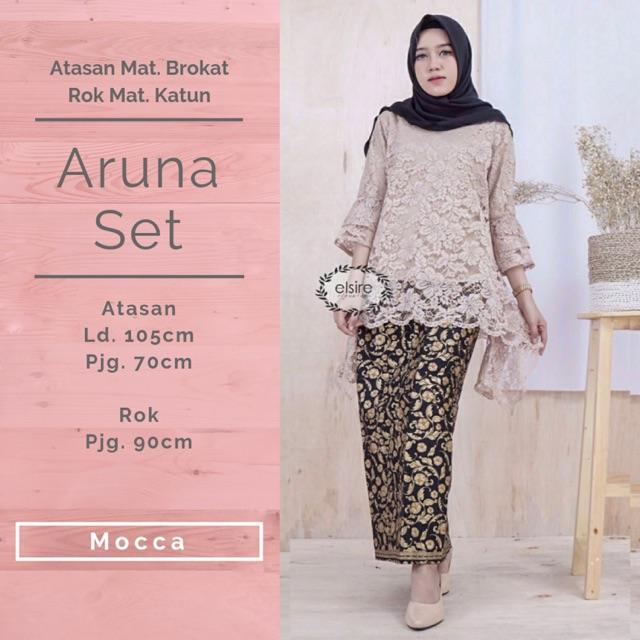 Aruna Set Setelan Kebaya Atasan Batik Fashion Muslim Brukat Furing Wanita Murah Elsire