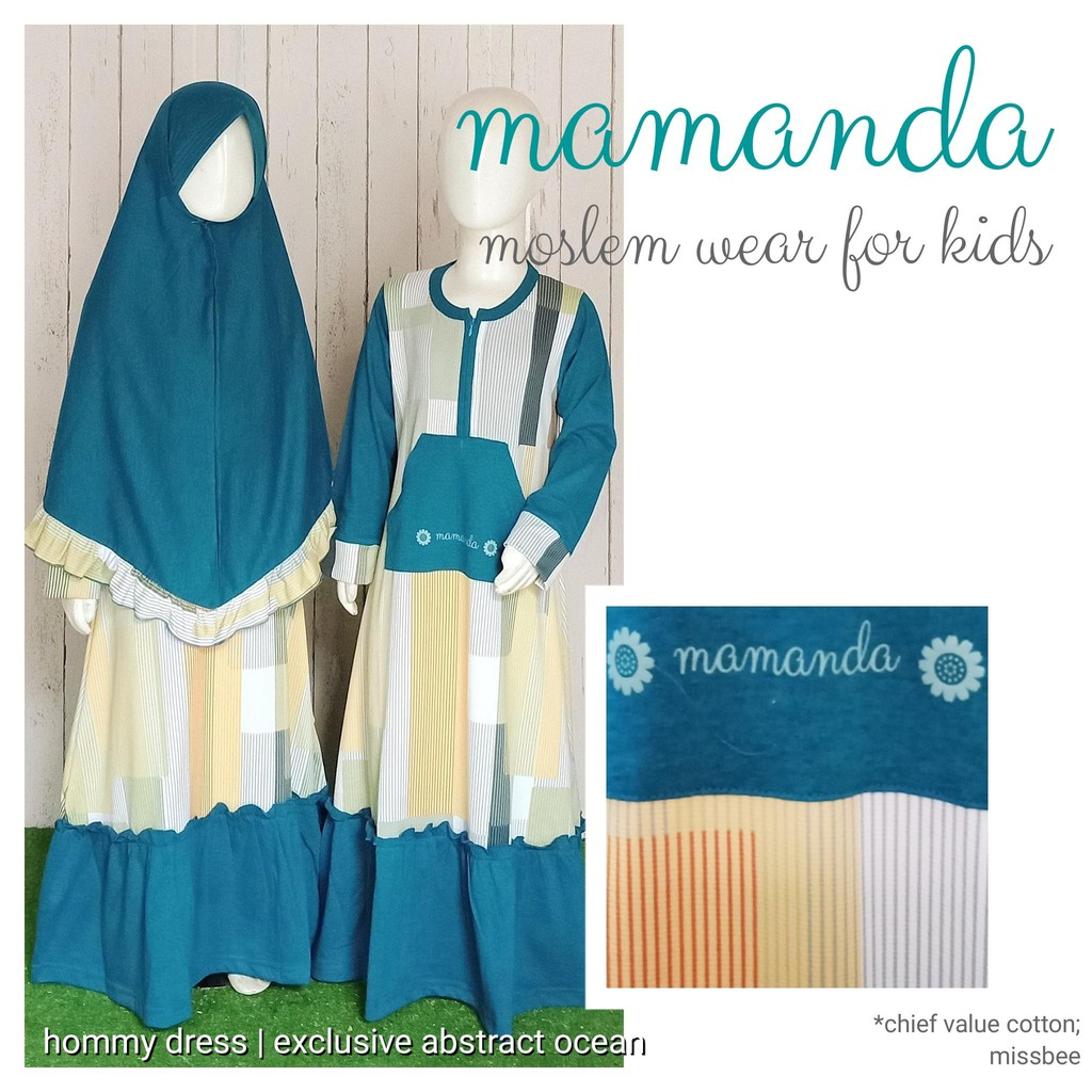 Gamis Anak Abstract Ocean Hommy Dress - Exclusive Series by Mamanda