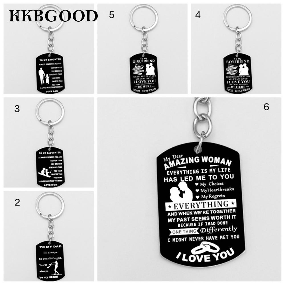 Gift Dad Mom Daughter Brother Son Dog Tag Message Quote Necklace Excellent