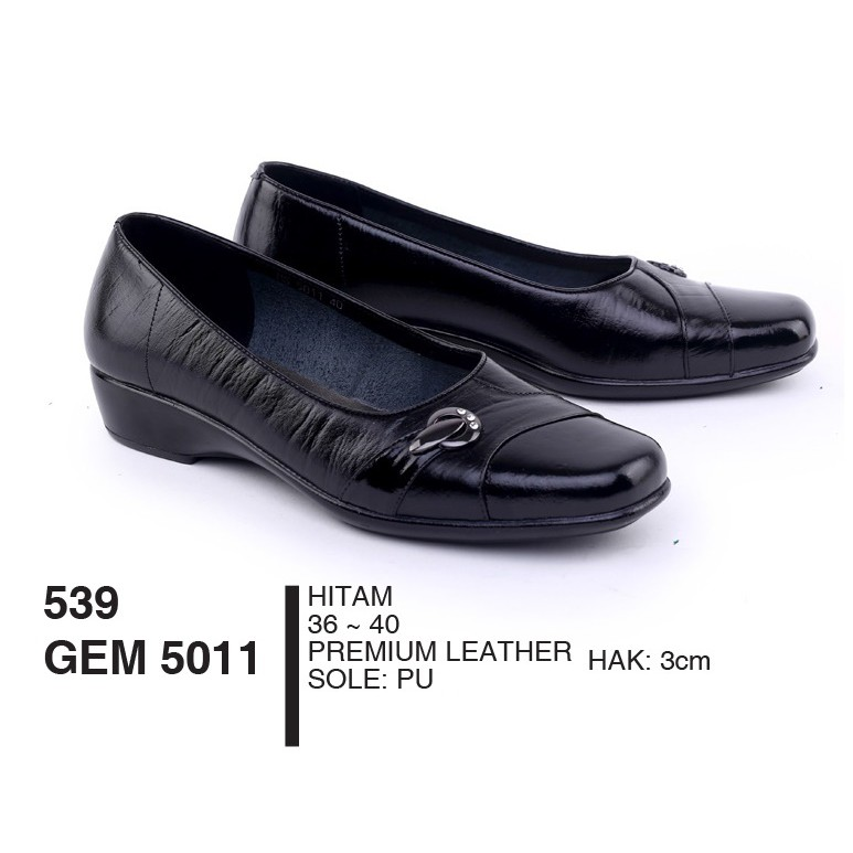 Sepatu Wanita Dewasa Formal Premium Leather Hitam By Garsel Footwear - GEM 5011
