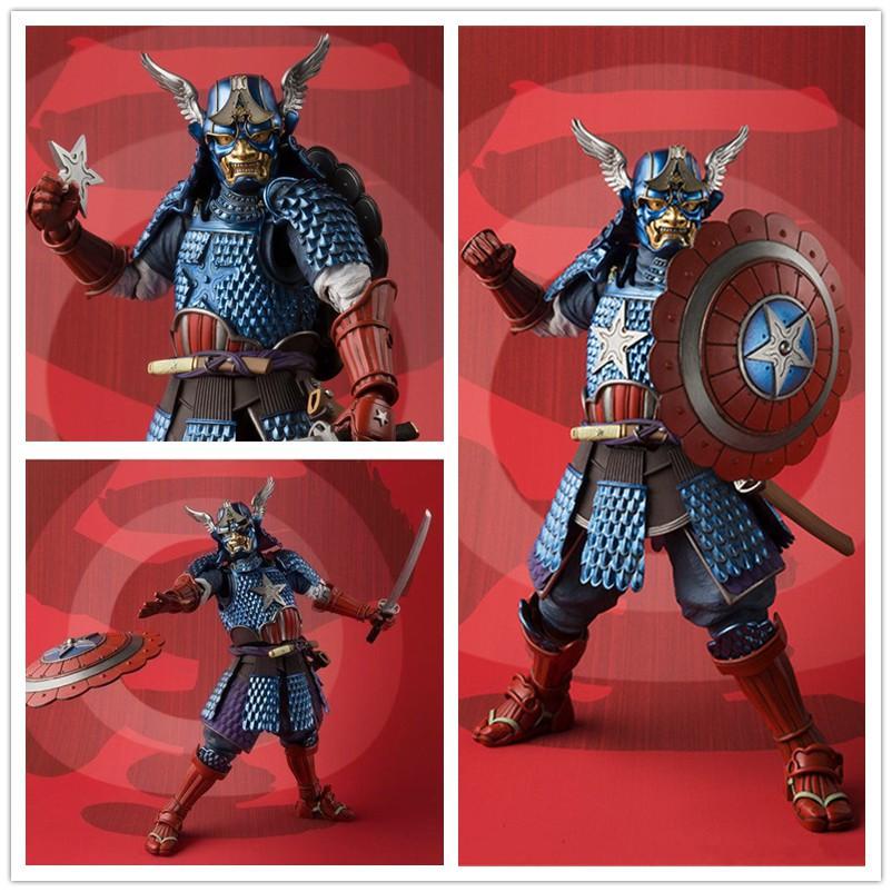 Marvel Manga Realization Samurai Captain America PVC Action Figure Model Toy