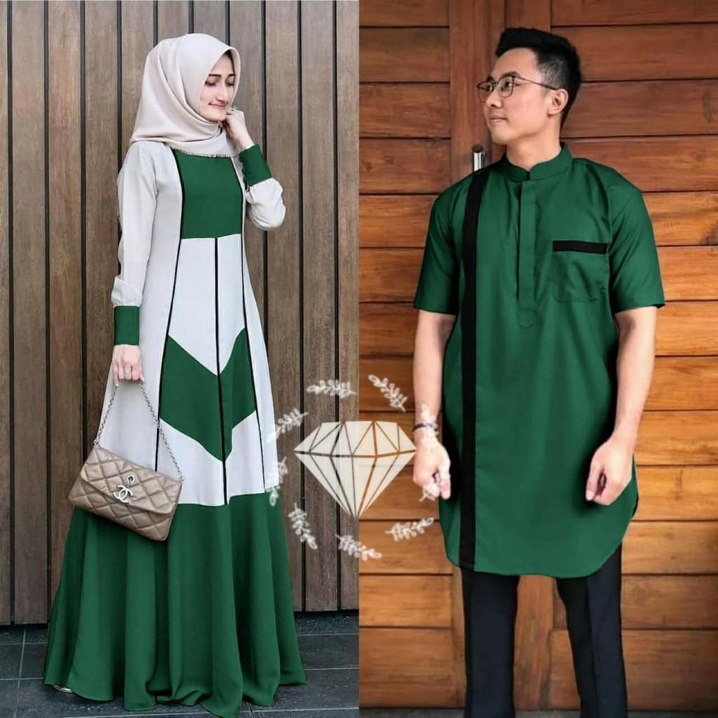 (COD) Baju Gamis Pasangan Syar`i Cowo Cewe Couple Muslim Muslimah Pria  Wanita Shiraya Moscrepe