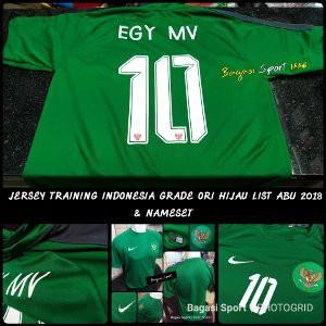 Jersey Baju Bola Training Timnas Indonesia Long Sleve (LS) Lengan Panjang Hijau list Abu