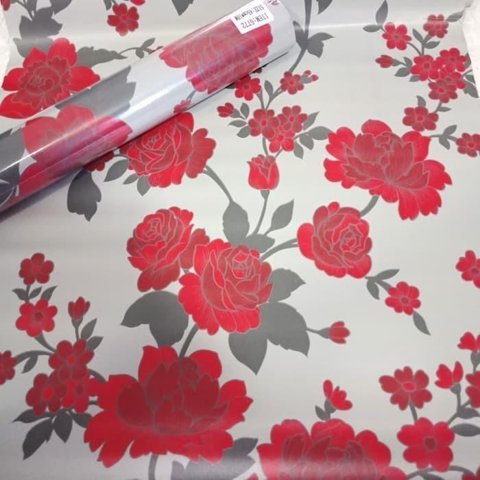 Wallpaper Motif Bunga Mawar Merah Dasar Abu Abu Shopee Indonesia