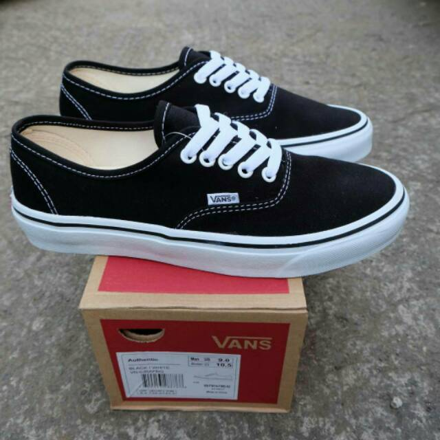 a8a53fe4e1 DISKON Sepatu Vans Authentic Black White Original Premium Quality Waffle DT  TERLARIS