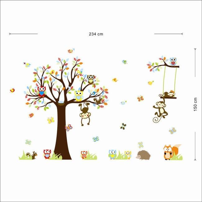 Stiker Dinding Dengan Bahan Mudah Dilepas Gambar Monyet Dan Burung