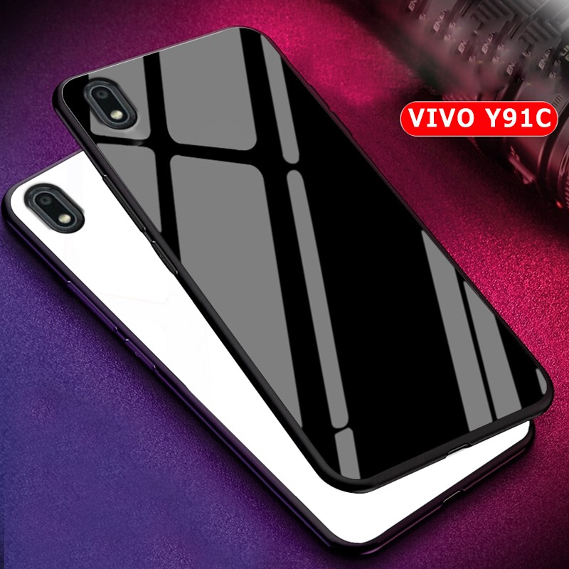 Vivo Y91c Glass Phone Case Luxury 9h Hard Glass Back Cover Phone Case Soft Edge Shopee Indonesia