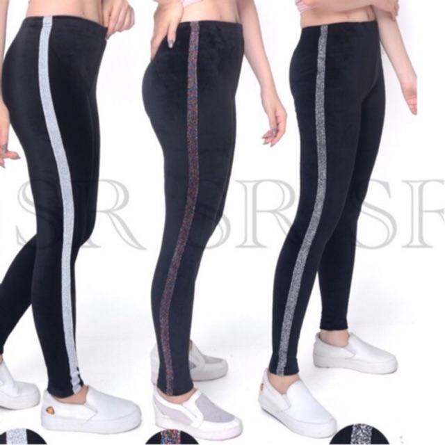 Ready Stock Legging Bludru List Pita Import Legging Panjang Wanita Dewasa Murah Velvet Leggings Shopee Indonesia