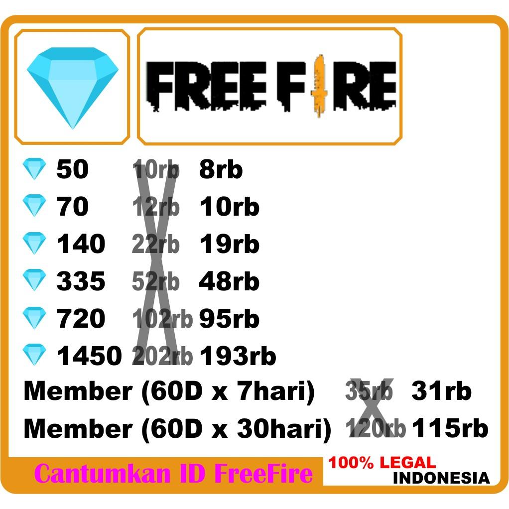TOP UP Diamond FF PROMO dm Free Fire Murah Cepat Top Up Freefire Garena Membership Mingguan Bulanan