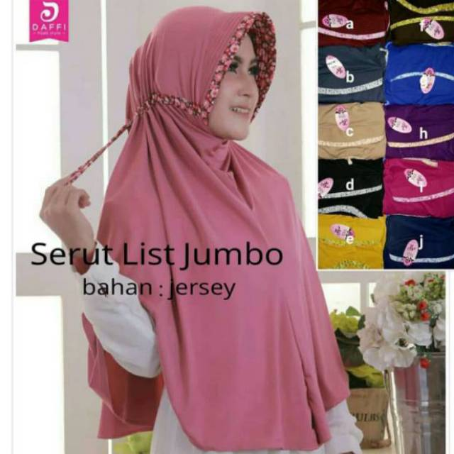 Hijab Serut Jumbo Kombinasi Bunga Bahan Jersy Shopee Indonesia