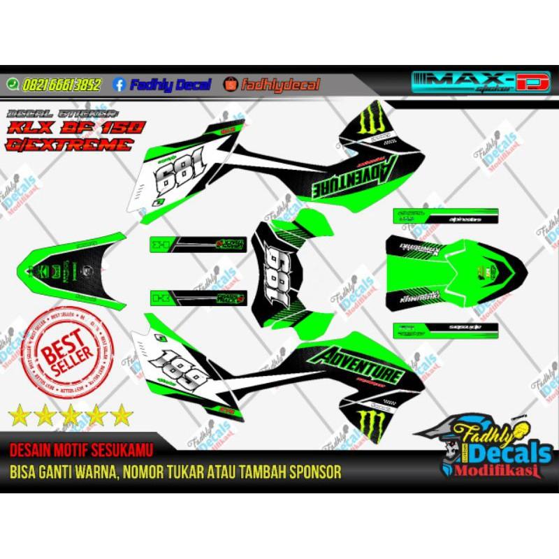 decal klx bf hijau hitam putih sticker fullbodh