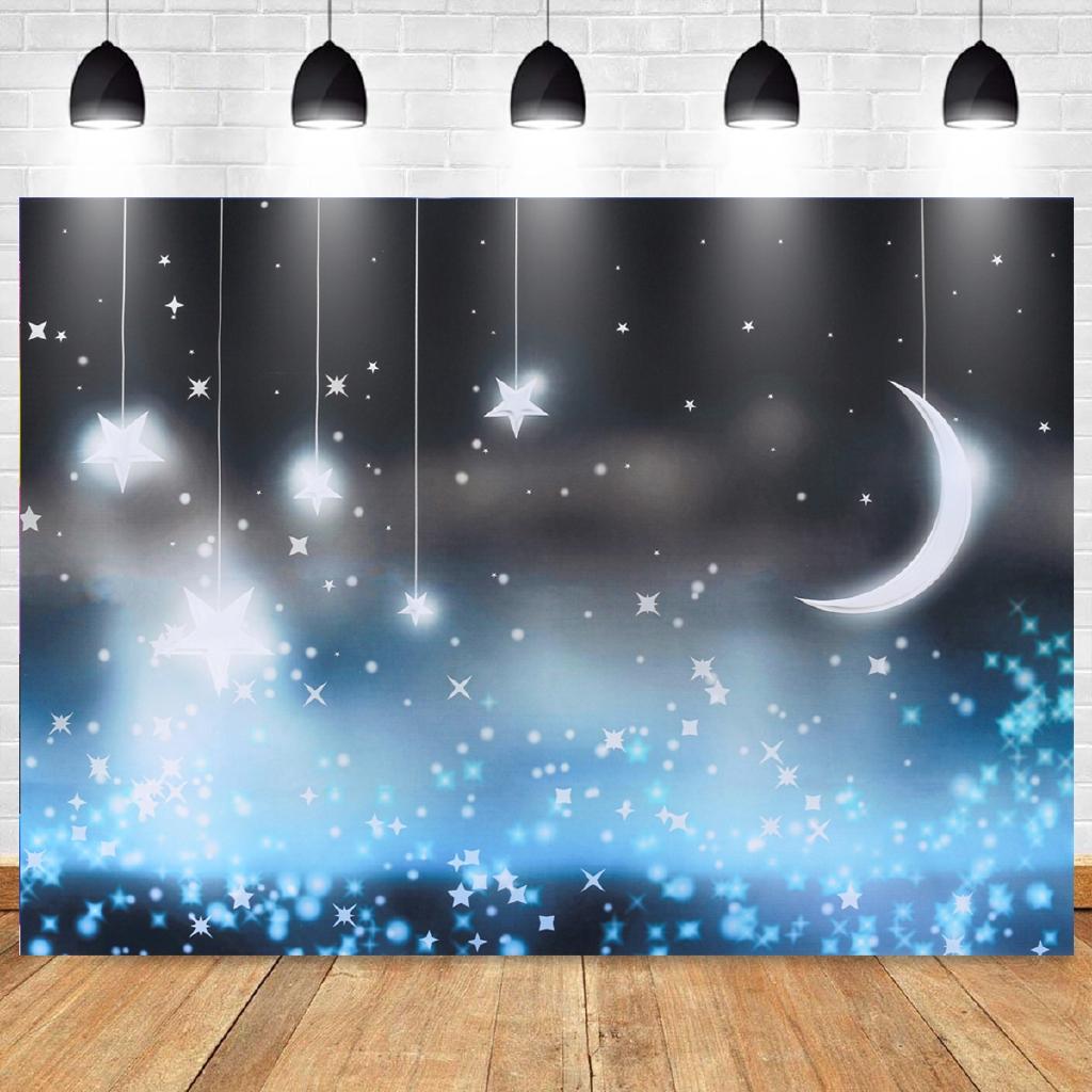 Properti Background Foto Dengan Gambar Langit Berbintang Dan Bulan Sabit Untuk Anak Anak