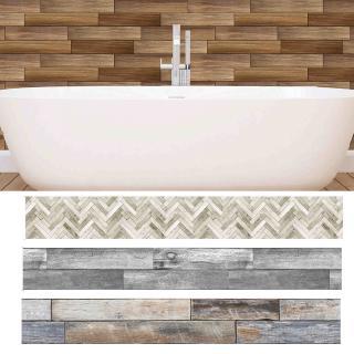 DIY Removable Waterproof PVC Wood Grain Bathroom Kitchen Wall Stickers Decor | Shopee Indonesia