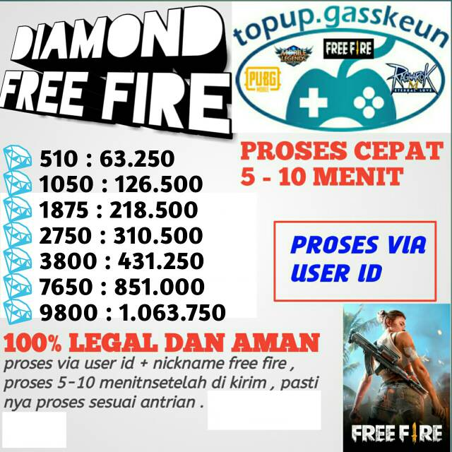 TOPUP DIAMOND GARENA FREE FIRE VIA USER ID