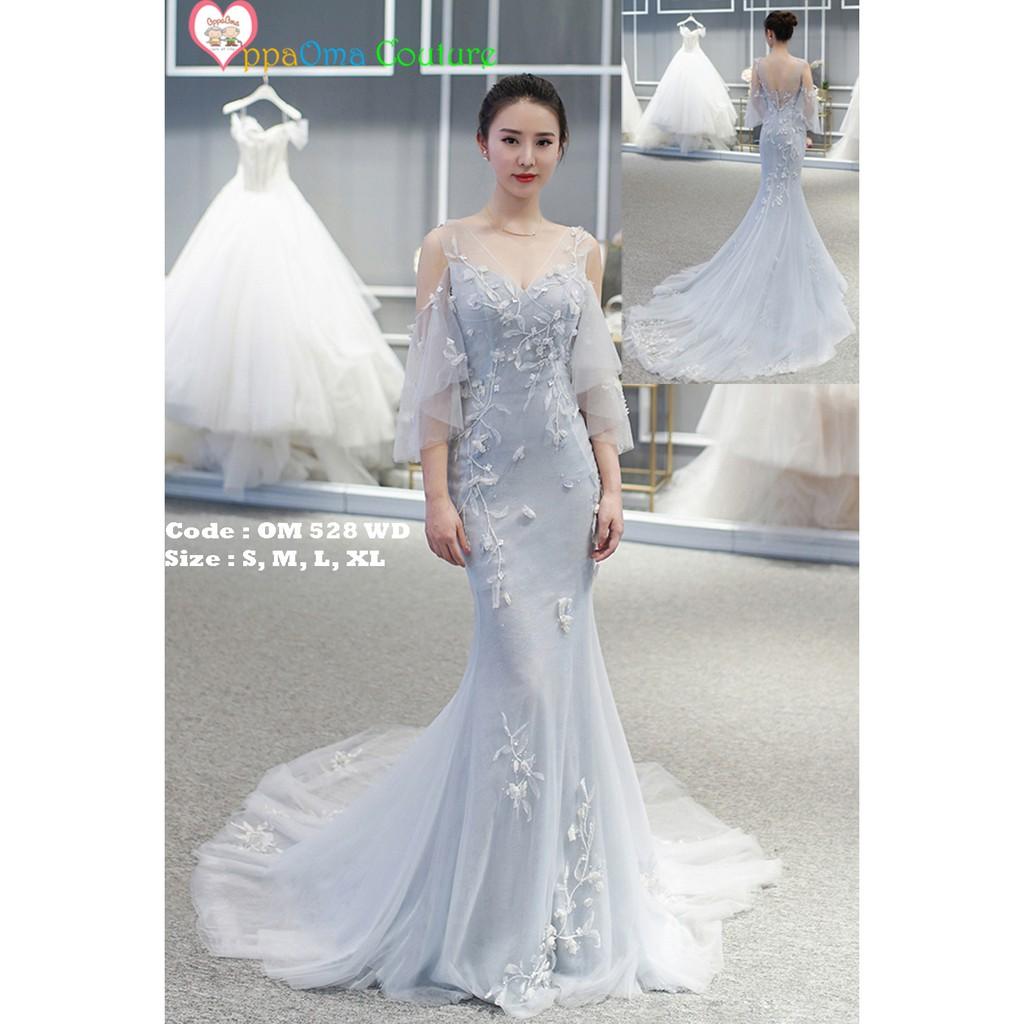 Gaun pengantin putri duyung corak bunga oppaoma OM 11 WD