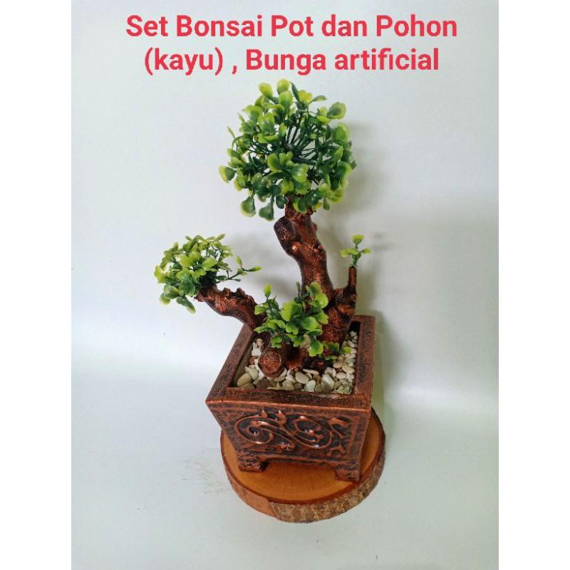 Set Bonsai/bunga hias/bunga artificial/bonsai daun/bonsai serut plastik/bonsai mini/bunga dekor