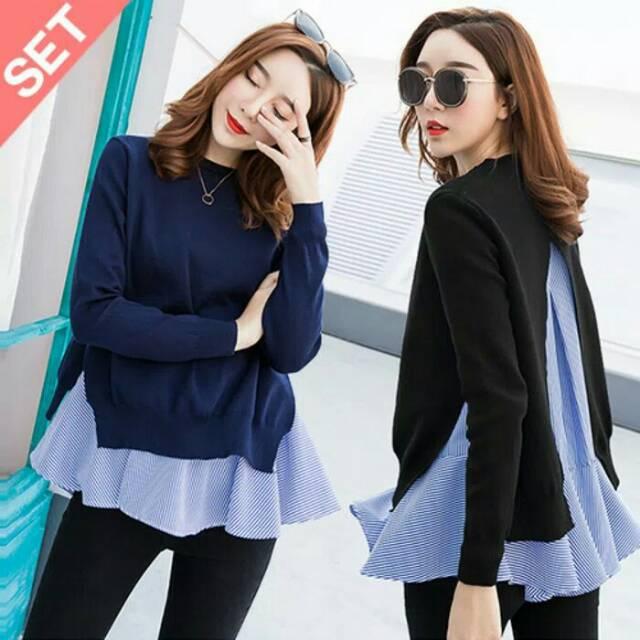 Model Baju Atasan Blouse Panjang Wanita Terbaru Kekinian 2 In 1