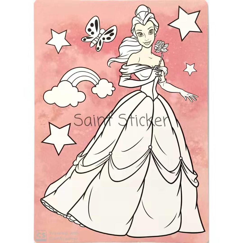 Kanvas Lukis Mewarnai Drawing Canvas Anak Karakter Disney Princess Snow White Cinderella Ariel