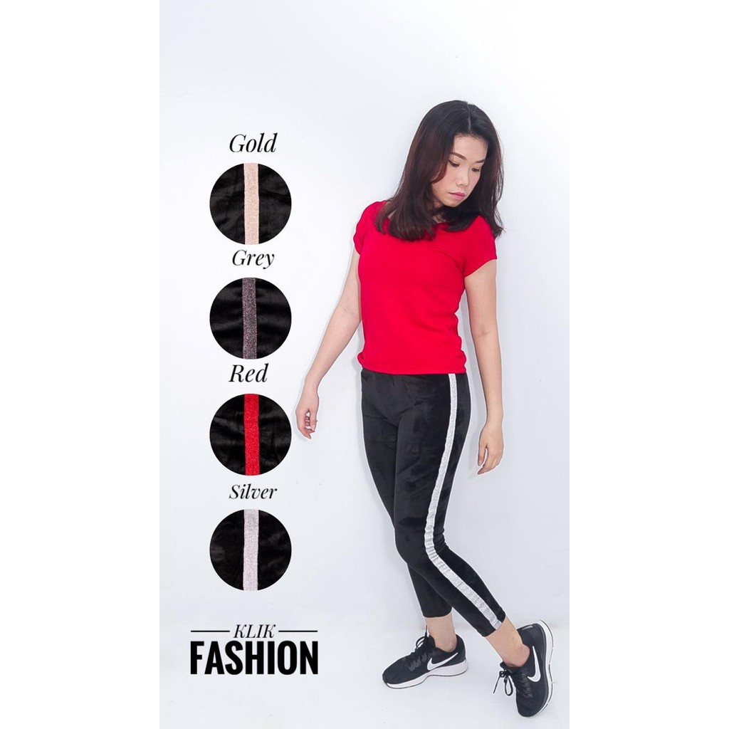 Celana Legging Bahan Bludru List Asli Import Leging Velvet Klik Fashion Shopee Indonesia