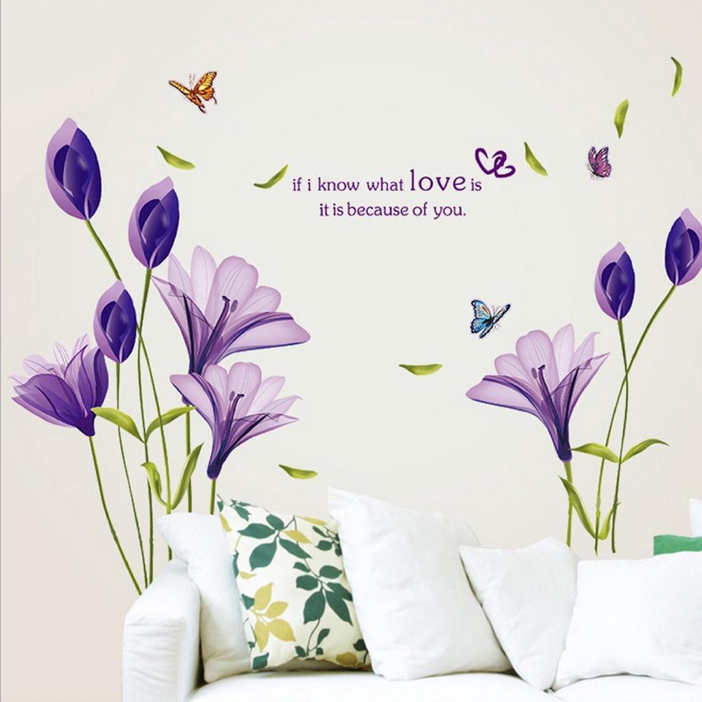 DIY Kartun Ungu Lily PVC Dinding Jendela Stiker Dekorasi Decals Stiker S473 Sope
