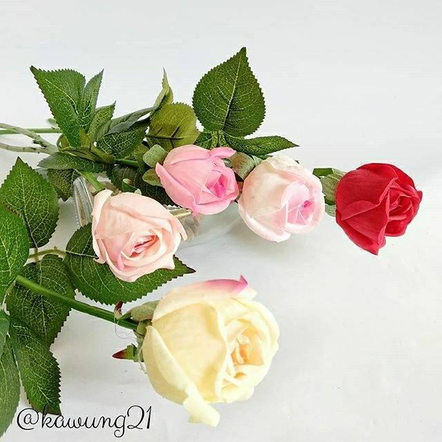 Af05 Kuncup Bunga Mawar Artificial Setangkai Mawar Cantik Shopee Indonesia