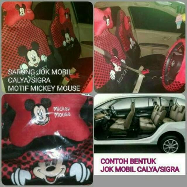 Sarung Jok Mobil CALYA/SIGRA Full Set 3 Baris Motif MINIE MOUSE Merah Bintik Hitam