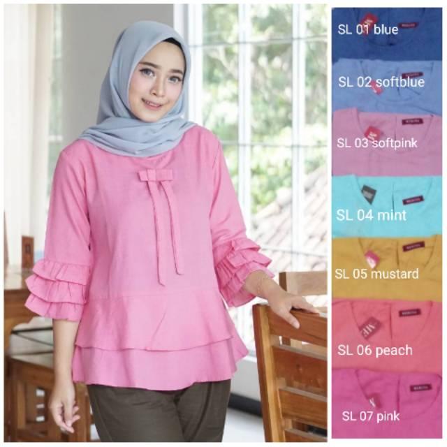 Baju Atasan Muslimah Wanita Baju Muslim Wanita Blouse Layer - Pink Putih  1dada68a7c