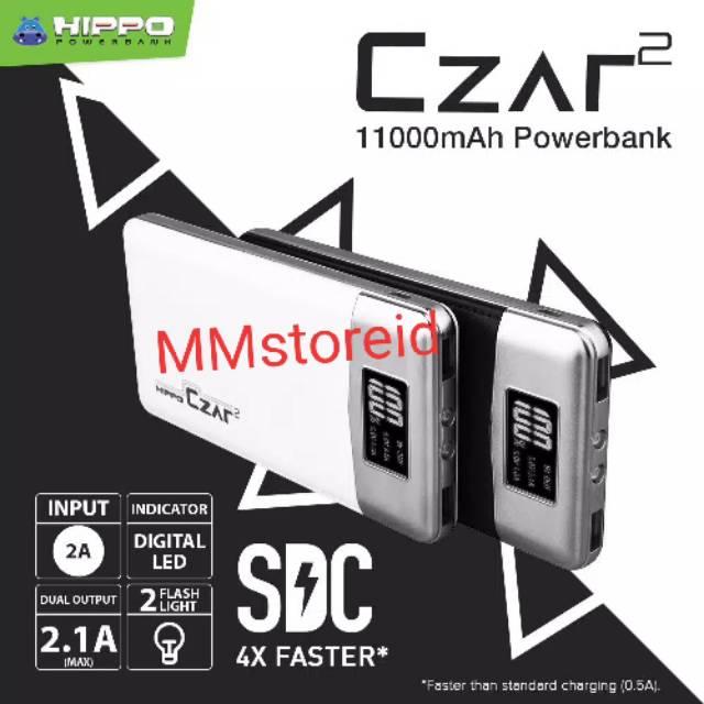 Powerbank hippo Czar 2 11000mAH original garansi resmi 1 tahun / power bank hippo Czar2 11000Mah
