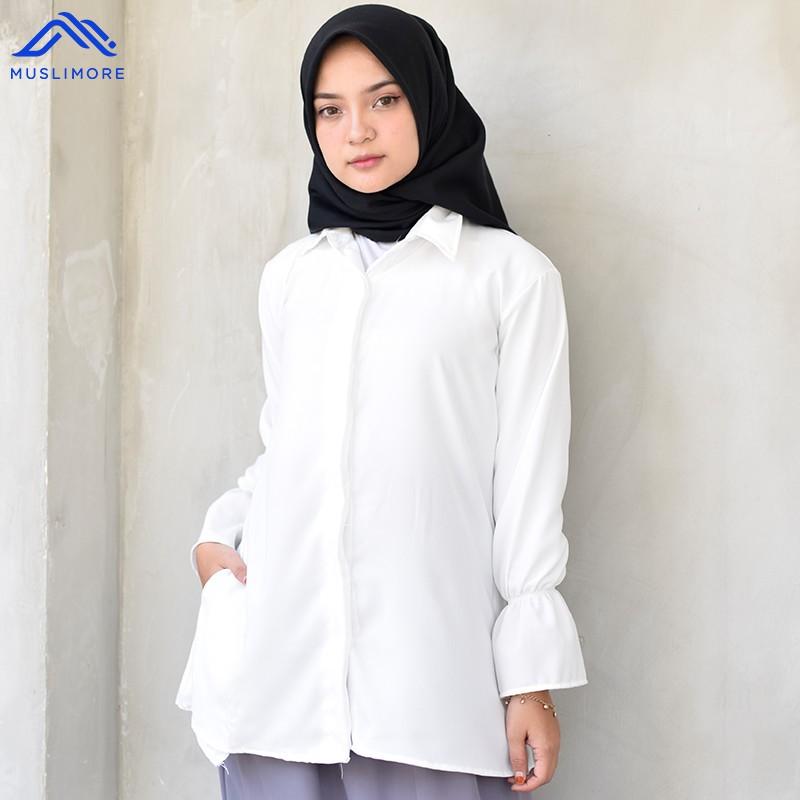 Muslimore Atasan Muslim Kemeja Kerja Wanita Polos Lengan Panjang Bosanova Crepe Putih Shopee Indonesia